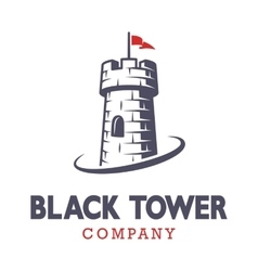 Knight black tower logo vector image