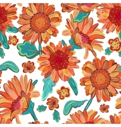 Seamless floral background Isolated orange vector image