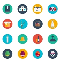 Easter flat design round icon set vector