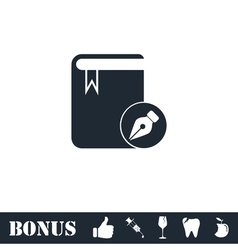 Book write icon flat vector