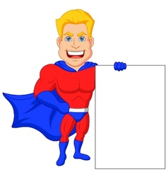 Superhero cartoon with blank sign vector image