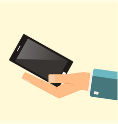 Buying smartphone the hand hold smartphone vector