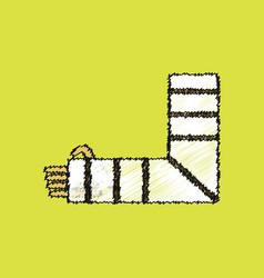 Flat shading style icon broken arm vector