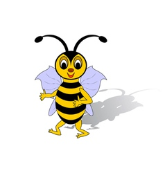 A funny cartoon bee isolated on a white background vector