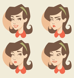 Cartoon girl face vector