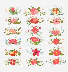 Vintage bouquets flower bundle vector