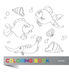 Coloring book - marine life vector