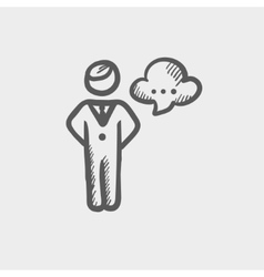 Businessman with speech bubble sketch icon vector