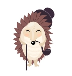 Cartoon gentleman hedgehog isolated on the vector