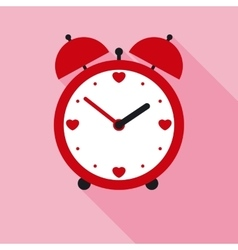 Time for love red valentine alarm clock in flat vector