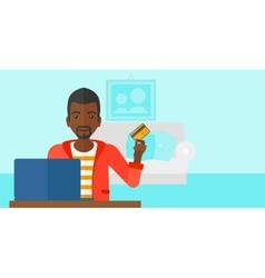 Man making purchases online vector