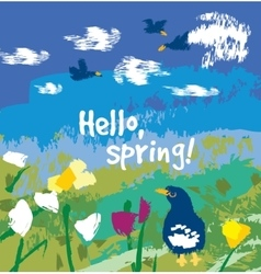 Spring color flowers and birds sign card vector