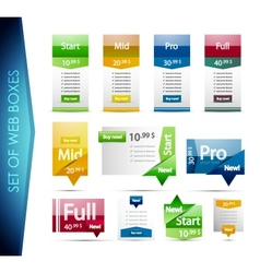 Set of colorful web boxes vector