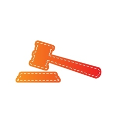 Justice hammer sign orange applique isolated vector