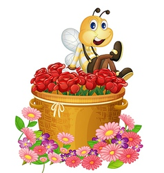 A basket of red roses with a big bee vector image vector image