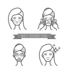 Beauty care icons acne treatment demodicosis vector
