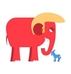 Big Red Elephant and little blue donkey symbols of vector image