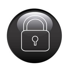 black circular frame with padlock icon vector image