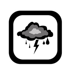 Black silhouette square button with rain storm vector