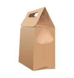 Brown paper bag for food packing with handles vector