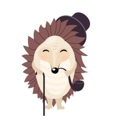 Cartoon gentleman hedgehog isolated on the vector