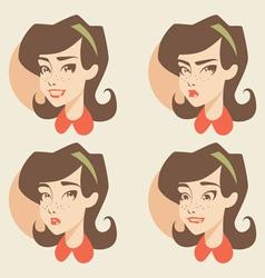 Cartoon girl face vector image