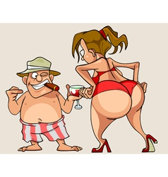 Cartoon woman with big ass in a bathing suit vector
