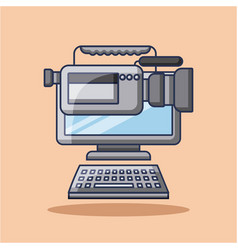 computer and film camera gadget technology vector image