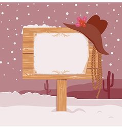Cowboy christmas background with wood board for vector