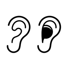 Ear and Earplug Icons Set vector image vector image