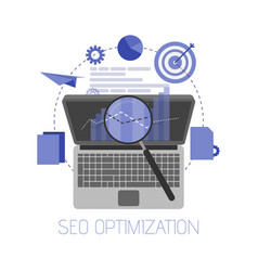 flat background seo search engine optimization vector image vector image