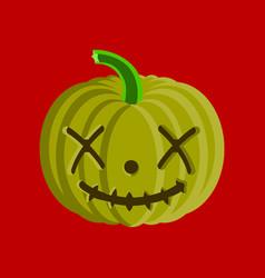 Flat on background of halloween pumpkin emotions vector