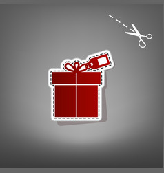 Gift sign with tag red icon with for vector