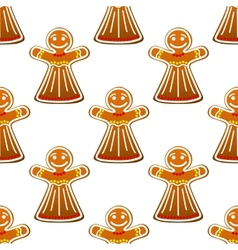 Gingerbread cookie people seamless pattern vector image vector image