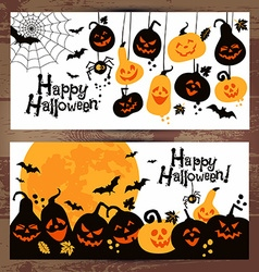 Halloween background banners of cheerful pumpkins vector