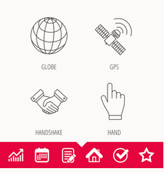 Handshake globe and gps satellite icons vector