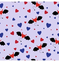 Horned Hearts Seamless Pattern vector image vector image