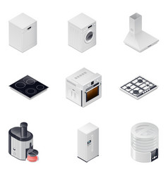 Household appliances detailed isometric icons set vector image vector image