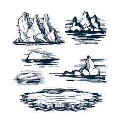 Iceberg ice blocks vector
