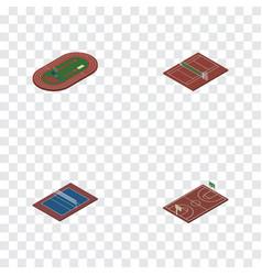 Isometric training set of volleyball run stadium vector