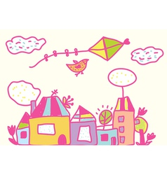 Kids funny background with kite and houses vector image vector image