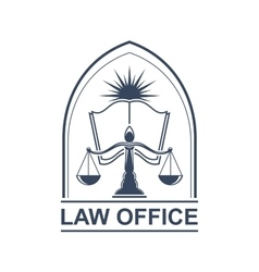 Lega center or law office icon with scale and book vector