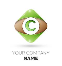 letter c logo symbol on colorful rhombus vector image
