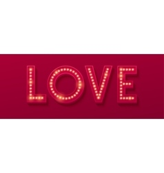 Love retro light banner valentines card vector
