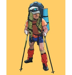 Male traveler in a tourist outfit with a backpack vector