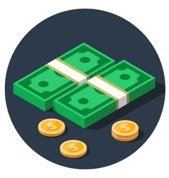 money dollar piles flat icon vector image vector image