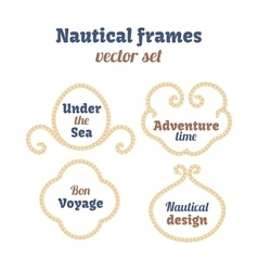 Nautical frames set ropes swirls decorative vector