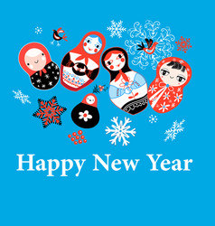 new years greeting card on funny dolls vector image vector image