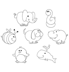 outlined animal doodles vector image vector image