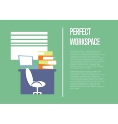Perfect workspace banner office interior vector
